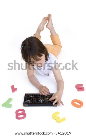 young girl with abacus isolated on white - stock photo