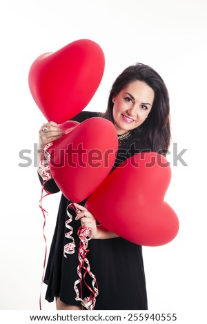 young girl with balloons hearts - stock photo
