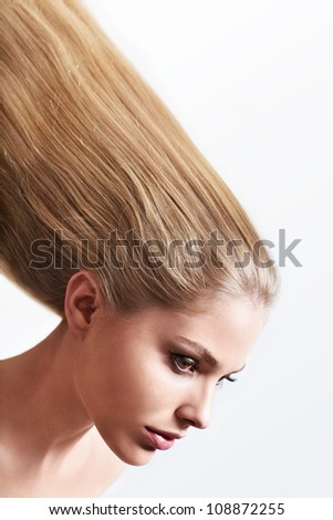 Young girl with beautiful hair - stock photo