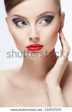 Young girl with beautiful make-up - stock photo