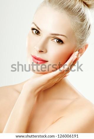 young girl with beautiful makeup. perfect skin. - stock photo