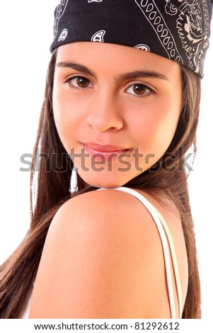 young girl with black  headscarf isolated over white background