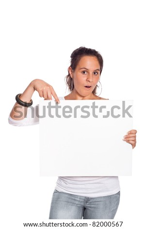 Young Girl with Blank Billboard on White