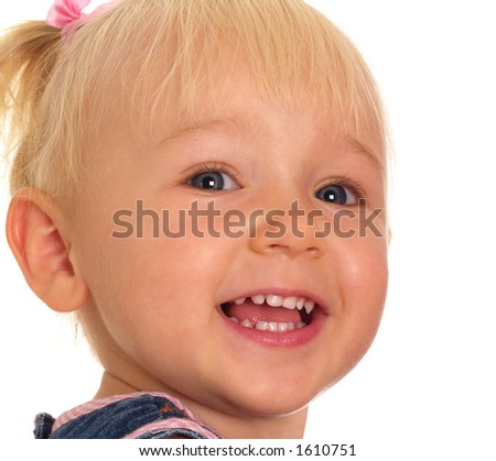 Young girl with blue eyes smiling