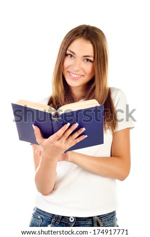 young girl with book isolated on a white background - stock photo