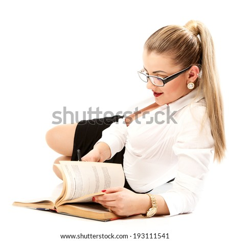 Young girl with book. Women in glasses.