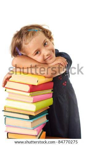Young girl with books - stock photo