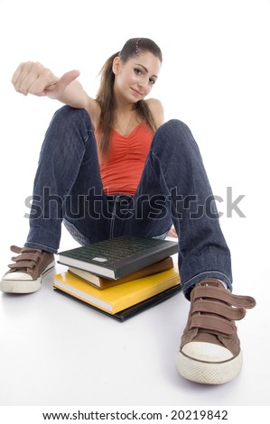 young girl with books against white background - stock photo