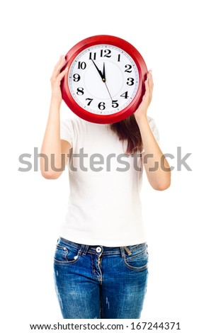 young girl with clock isolated on a white background