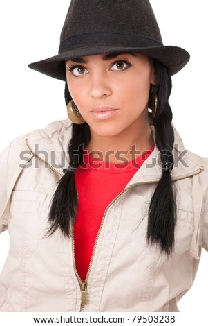 young girl with cowboy hat and  pigtails, close up of beautiful cowgirl, isolated on white background - stock photo