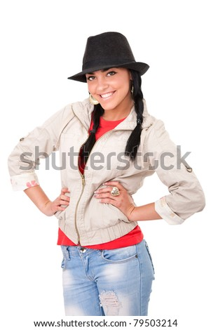 young girl with cowboy hat, smiling and looking at camera, isolated on white background - stock photo