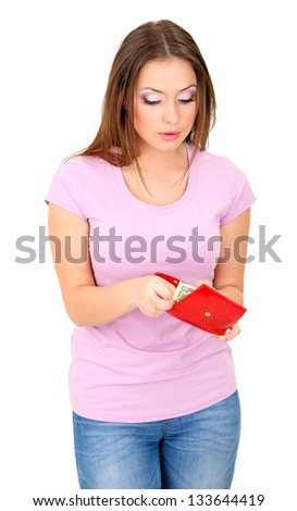 Young girl with credit card isolated on white