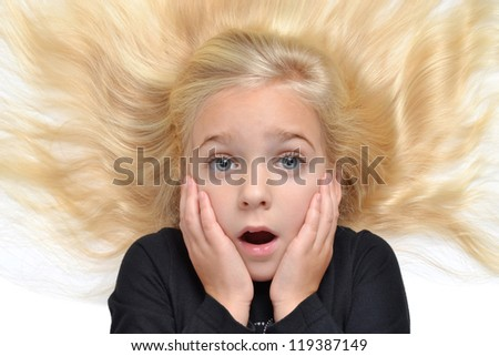 young girl with expression on face - stock photo