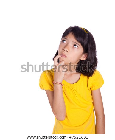 Young girl with finger in mouth, a little unsure