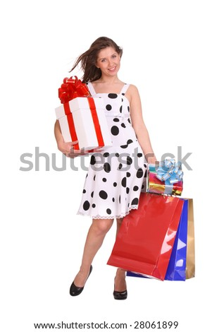 Young girl with gift bag and gift box. Isolated.