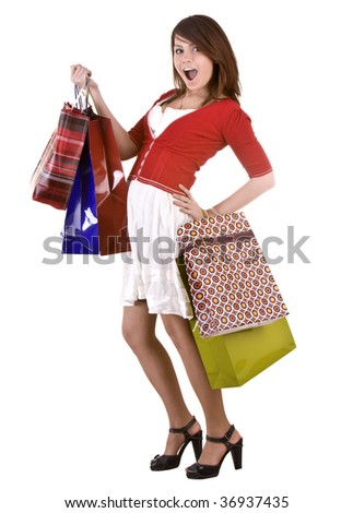 Young girl with gift bag. Isolated.