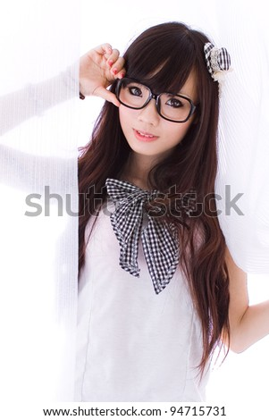 young girl with glasses - stock photo