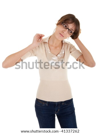 young girl with glasses in hand on a white background