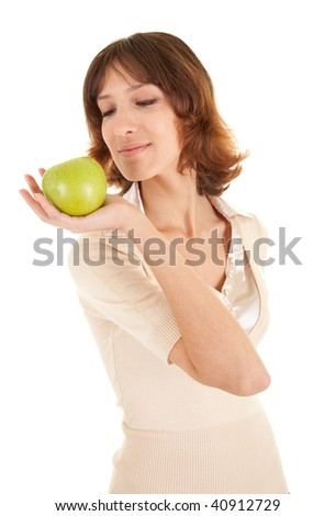 young girl with green apple in his hand on a white background
