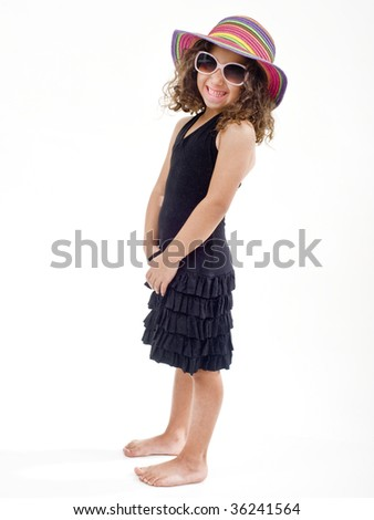 young girl with hat and sunglasses isolated on white - stock photo