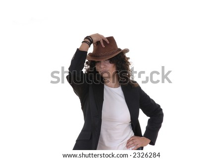 young girl with hat in white background