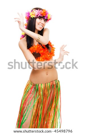 Young girl with in bikini dance wearing flowers crown, isolated on white