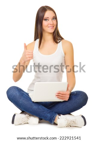 Young girl with laptop isolated - stock photo