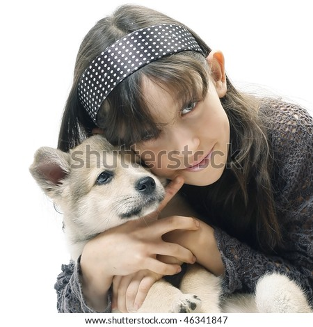 Young girl with little dog over white background - stock photo