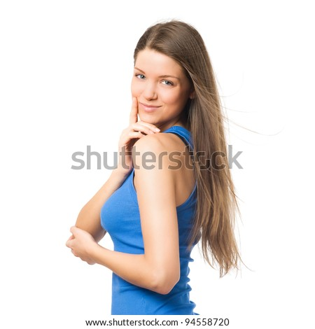 Young girl with long hari flirting at camera. Hand on face - stock photo