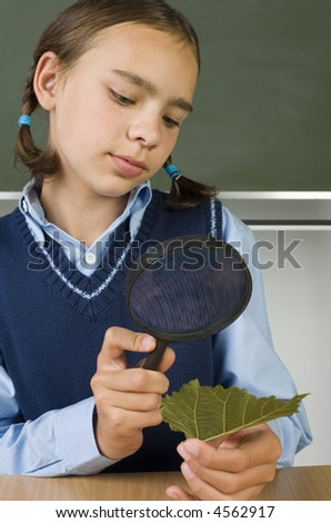 Young girl with magnifying glass in one hand and leaf in other. Looking at something. Sitting at desk in front of blackboard. Front view - stock photo