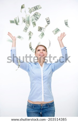 Young girl with money