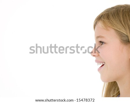 Young girl with mouth open - stock photo