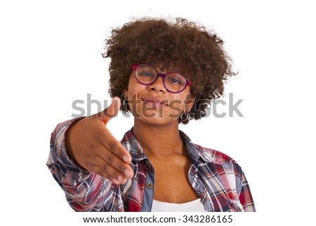 young girl with outstretched hand waving - stock photo