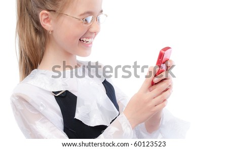Young girl with phone, isolated on white background.