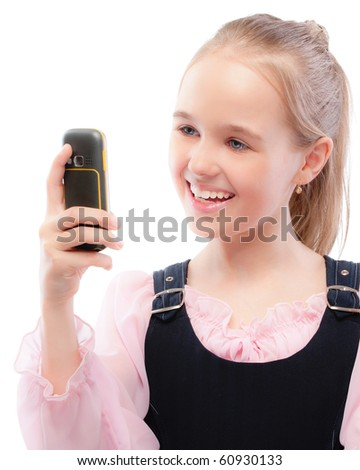 Young girl with phone, isolated on white background. - stock photo