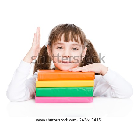 young girl with pile books raising hand knowing the answer to the question. isolated on white background - stock photo