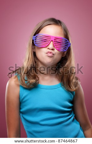 Young Girl With Retro Glasses - stock photo
