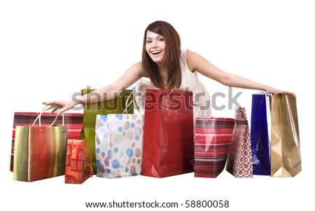 Young girl with shopping  bag. Isolated. - stock photo
