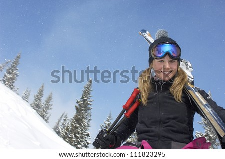 Young girl with ski