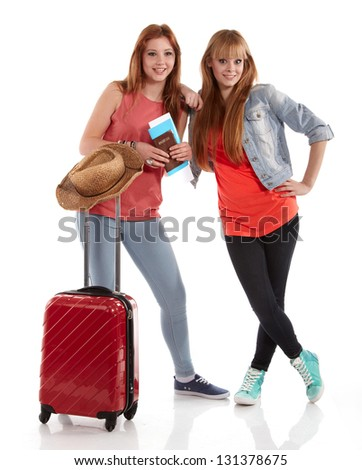 young girl with suitcase on white - stock photo