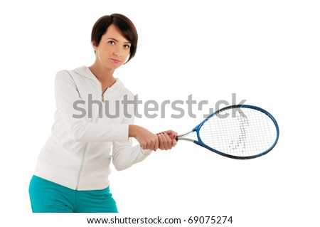 Young girl with tennis racket and bal isolated on white - stock photo