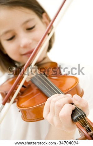 young girl with violin isolated on white background - stock photo