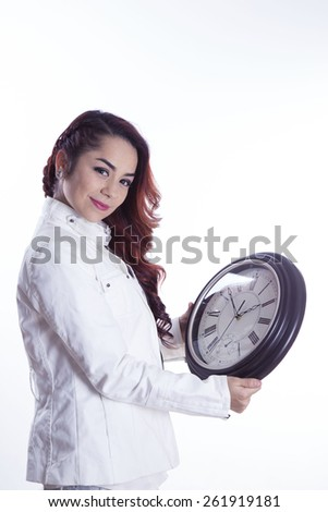 young girl with watch