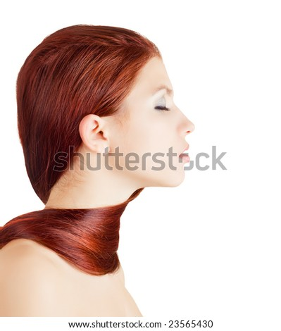Young girl wrapped with her hair on white background