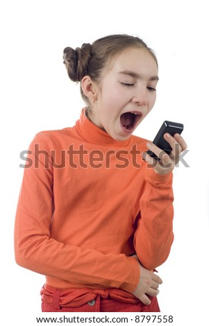 Young girl yelling into cellphone, isolated over white - stock photo