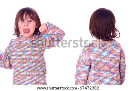 Young girl (4Yr) not willing to pose for the shoot - stock photo