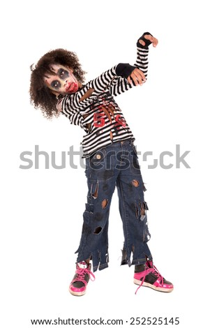 Young girl Zombie with face-paint in Halloween isolated in white - stock photo