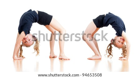 young girls doing gymnastics over white background - stock photo