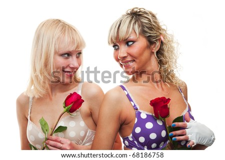 Young girls in bras - stock photo