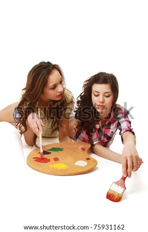 Young girls painting